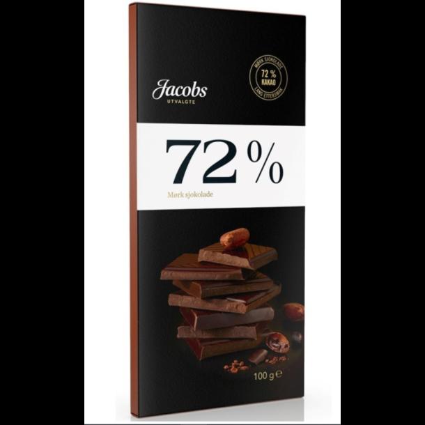 SJOKOLADE MØRK 72% JACOBS, 100g