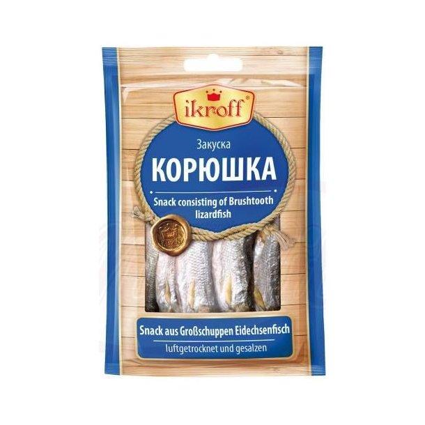 Lufttørket og saltet snacks fra Børstetannet Øglefisk Ikroff, 36g