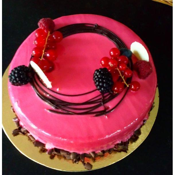 Bringebærmoussé kake, fra 8 personer
