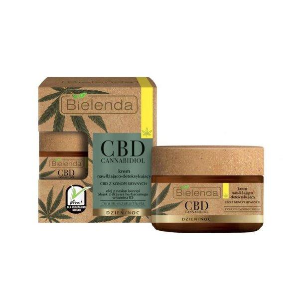 Fuktighetsgivende ansiktskrem med CBD Cannabidiol for kombinert og fet hud Bielenda, 50ml