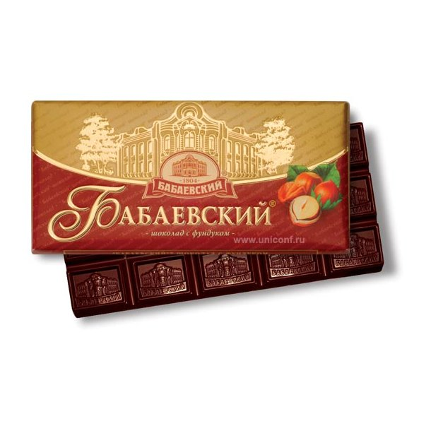 """Mørk sjokolade med hasselnøtter """"Babaevskij"""", 100g"""