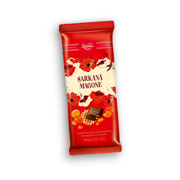 "Mørk sjokolade ""Rød Valmue"" Laima , 100g"