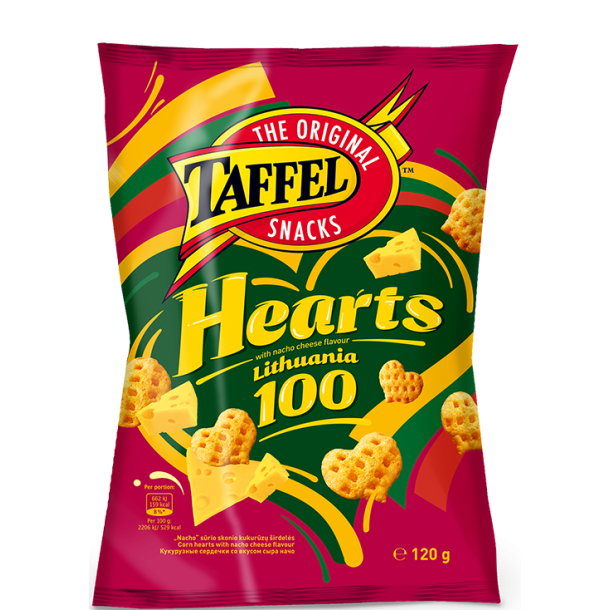 Taffel Hearts mais snacks, 120g