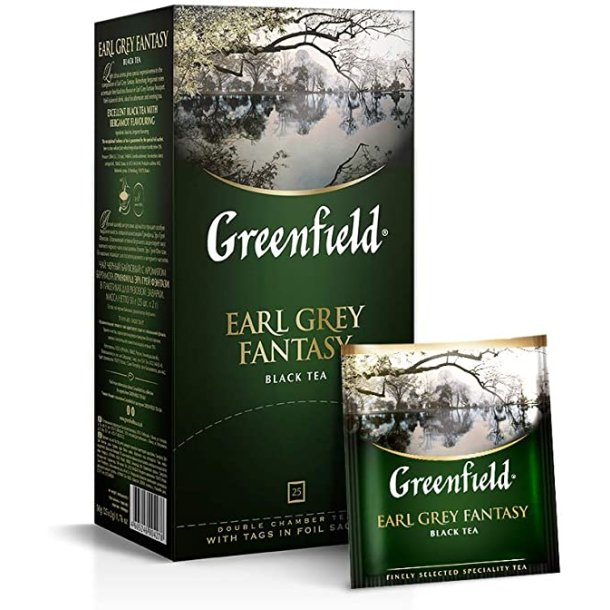 Earl Grey Fantasy Svart Te Greenfield, 25 puser x 2g