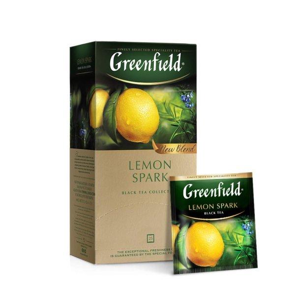 Svart Te Lemon Spark Greenfield, 25 puser x 1,5g