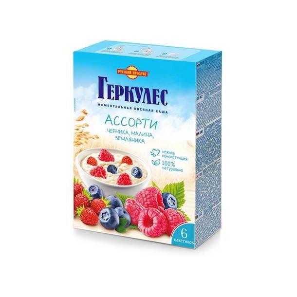Havregrøt med blåbær, bringebær og ville jordbær, 210g (6x35g)