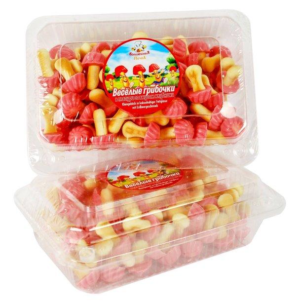 Kjeks Morsomme Sopp i jordbær sjokolade, 250g