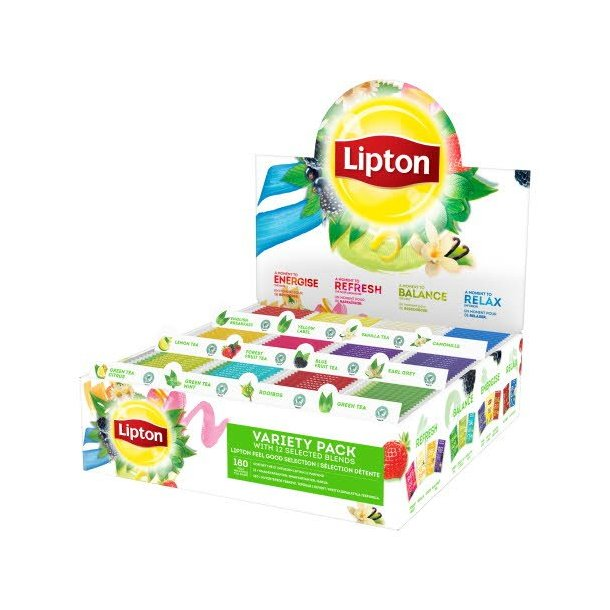 Lipton Assortert Displayboks te,  180 pos