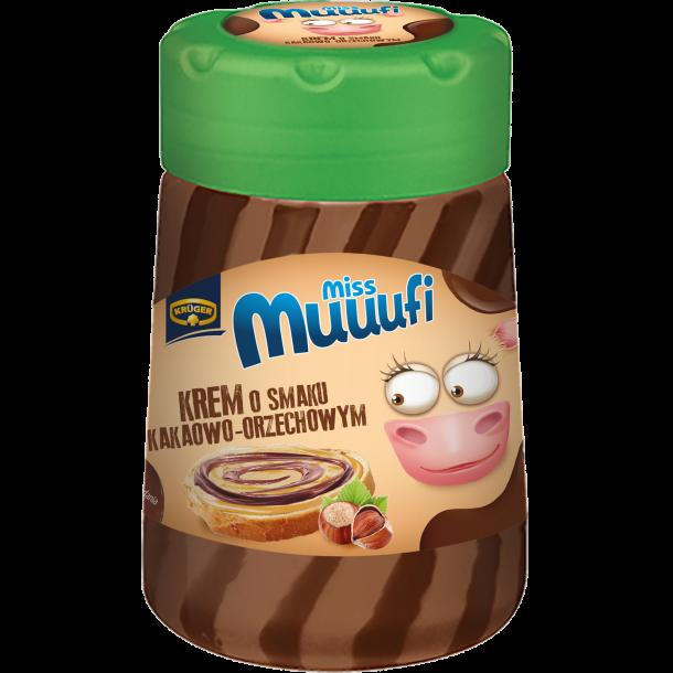 Pålegg med kremkakao og hasselnøtt smak Miss Muuufi, 400g