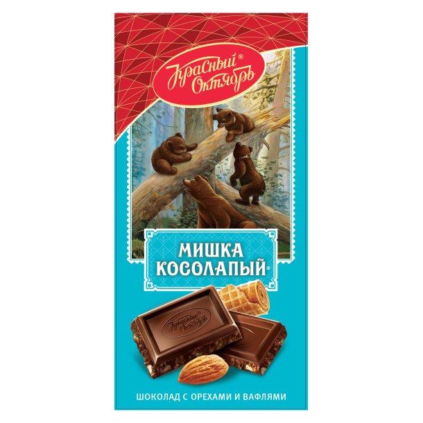 "Sjokolade med mandler og vaffelchips ""Mishka"" Red October, 75g"
