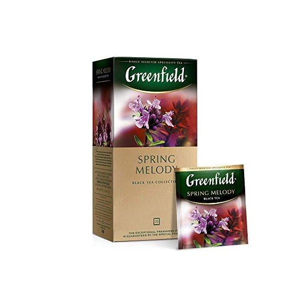 Spring Melody Greenfield Svart Te, 25 puser x 2g