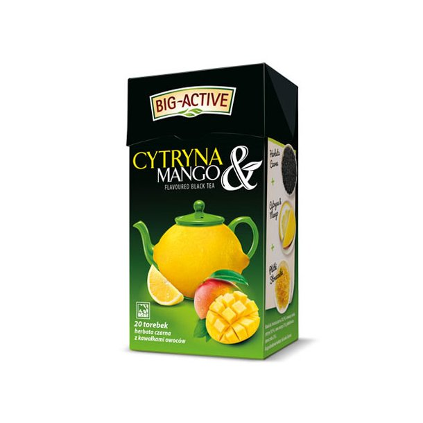 Svart Te Sitron og Mango Big-Active, 40g (20x2g)