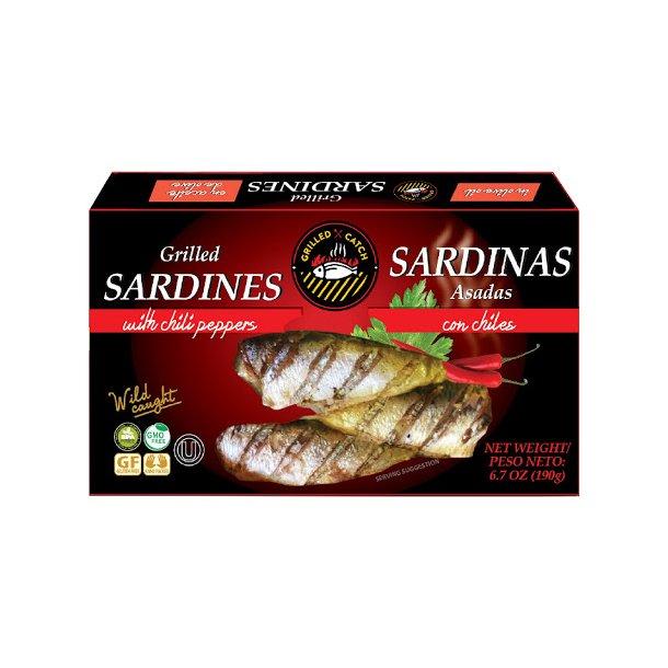 Grillede Sardiner i olivenolje med chilli, 190g